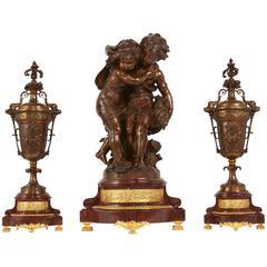 Three-Piece Patinated Bronze Garniture by Moreau
