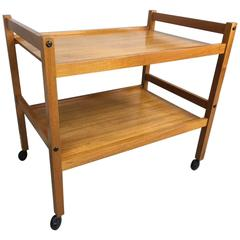 Danish Teak Two-Tier Bar Cart