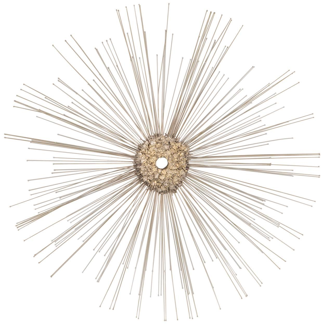 Starburst Metal Wall Sculpture Attributed To C Jere For