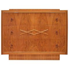 Belgian Design Art Deco, 1940 De Coene Frères Glossy Walnut Chest of Drawers