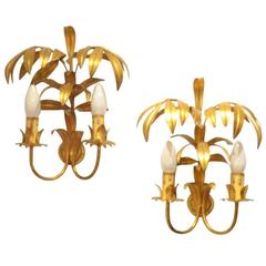 Two French Mid-Century Design Maison Jansen Style Metal Palm Tree Wall Sconce