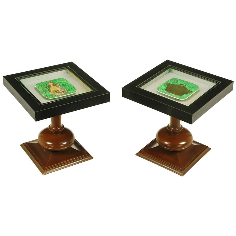 Pair of Walnut and Black Micarta Display Tables with Fornasetti Plates For Sale
