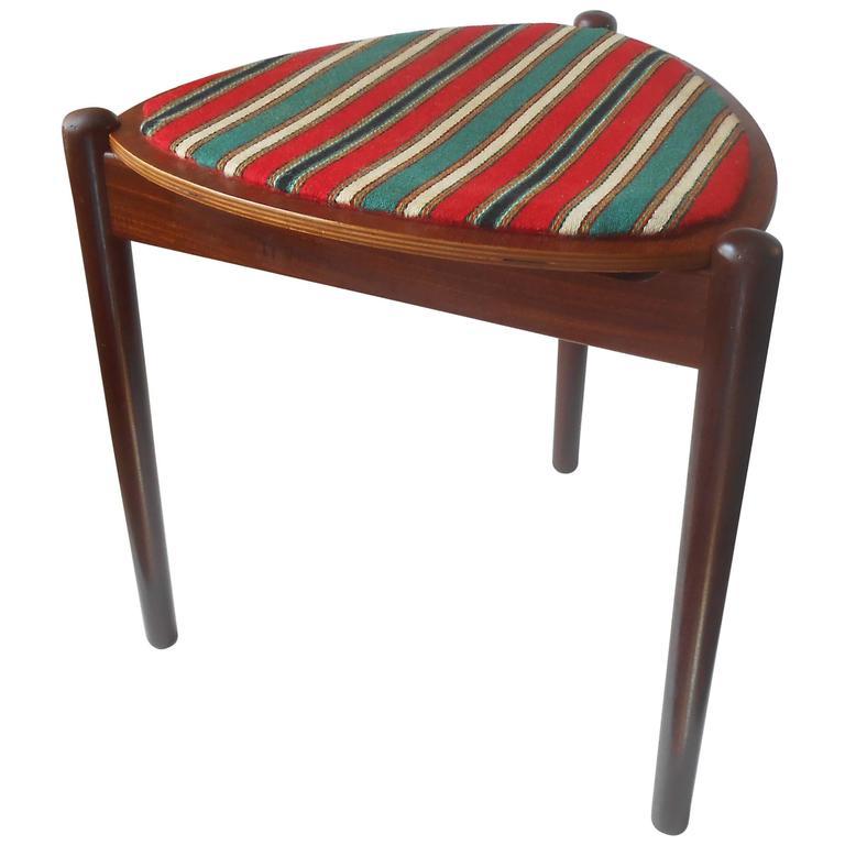 Very Rare Hans Olsen Reversible Three Legged Stool U0026 Side Table In Teak U0026  Wool