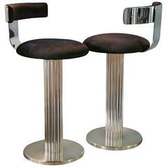 Modernist Pair of Chrome Steel Art Deco Style Swiveling Barstools