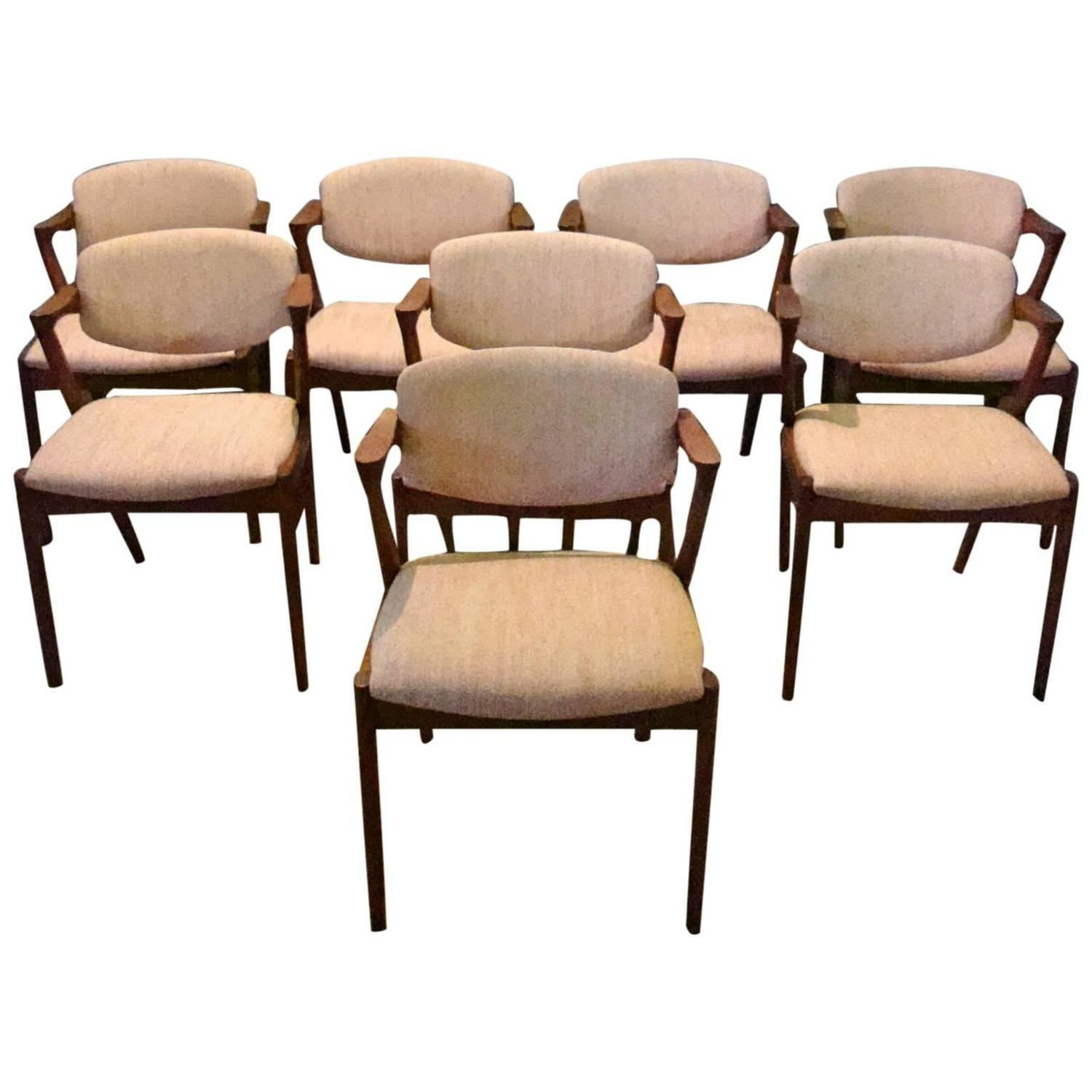 Kai kristiansen set of eight teak model 42 danish dining chairs at 1stdibs - Kai kristiansen chairs ...