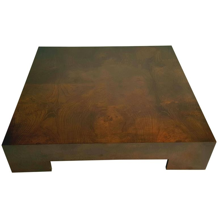 Milo Baughman Bookmatched Walnut Asian Style Low Cocktail Table