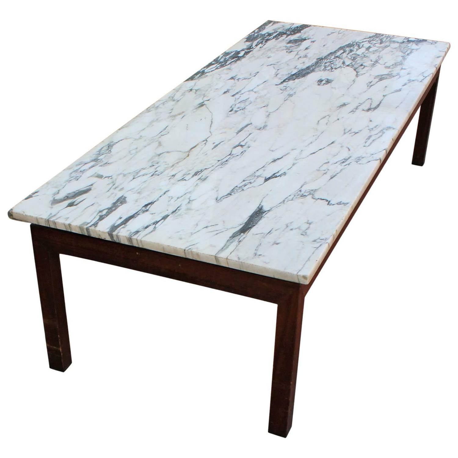 Marble Coffee Table For Sale Singapore: Clean Lined Walnut And Marble Coffee Table For Sale At 1stdibs