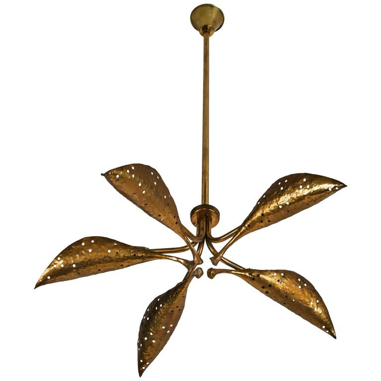 "Rare Italian Five-Arm Solid Brass ""Leaf"" Chandelier by Angelo Lelli 1"