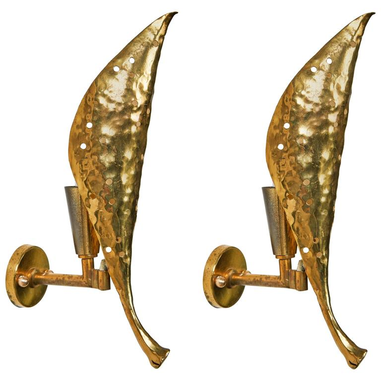 Pair of Solid Brass Sconces by Angelo Lelli