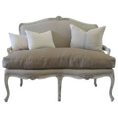 Antique Painted French Louis XV Carved Settee in Organic Irish Linen