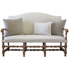 Antique Settee Bench Upholstered in Organic Natural Linen with Nail Trim