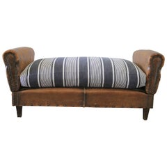 Antique French Leather Drop Arm Daybed Sofa with French Mattress Ticking