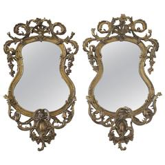 Pair of Two 18th Century French Giltwood Rocaille Mirrors with Girandoles