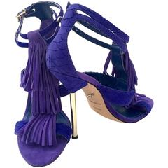 Brian Atwood Suede Fringe Ankle Strap Gold Heel Stiletto Shoes Size 8.5