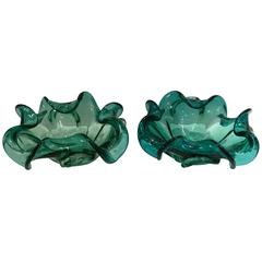 1950'S Pair of Italian Murano Glass Ruffle Bowls