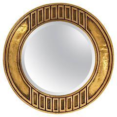 Brutalist Style Bronze Wall Mirror, Mid-20th Century