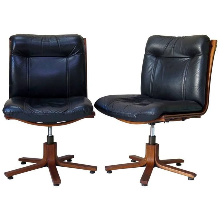 Pair Of Scandinavian Leather And Plywood Desk Chairs, Circa 1960s For Sale