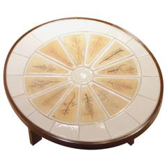 """French Design Low Oval """"Garrigue"""" Coffee Table by Roger Capron for Vallauris"""