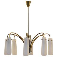 Italian Mid-Century Design, Eight Glass Flutes and Brass Chandelier Pendant Lamp