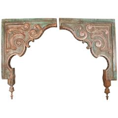 Pair of Painted Teak Wood Corbels