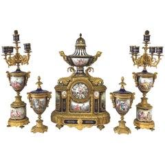 19th Century Sevres Clock Set