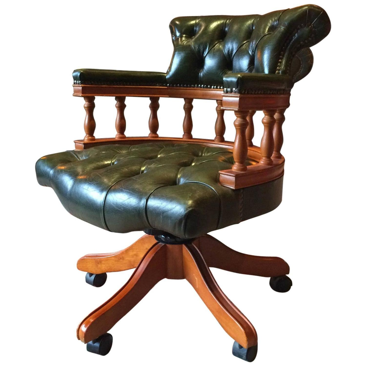 vintage chesterfield style leather captains chair office