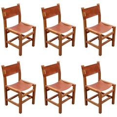 Set of Six Solid Elm Dining Chairs by Maison Regain, France, 1970s
