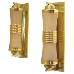 Two French 1930s Art Deco Glass & Brass Cylinder Shaped Wall Sconces Lamps
