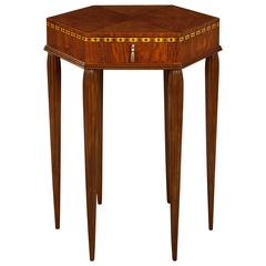 French Art Deco Ash and Bubinga Hexagonal Table With Drawer
