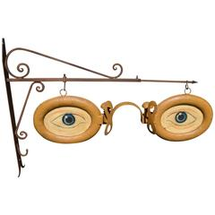 Antique Optometrist Trade Sign with Wall Bracket