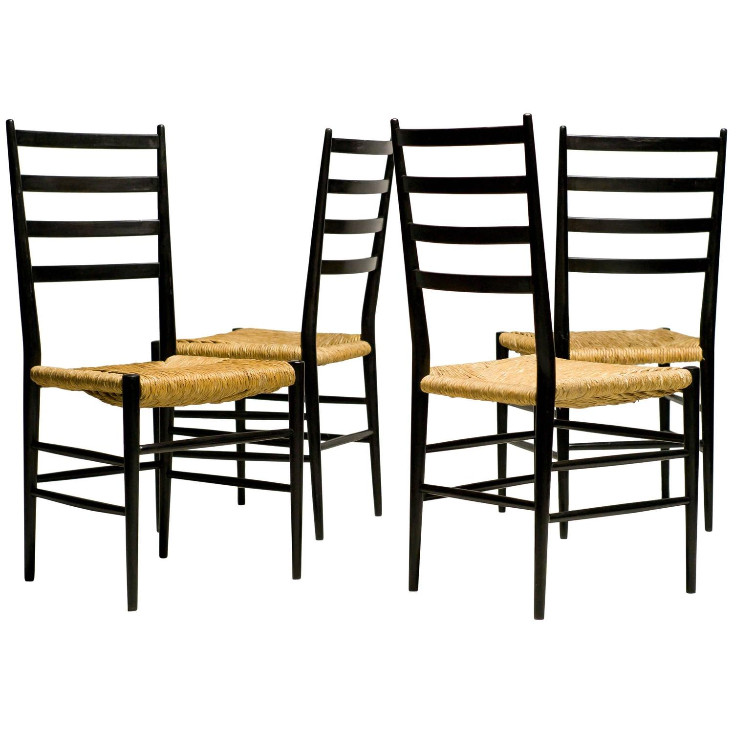 Furnitureinfashion Is Offering Very Affordable Arctic: Elegant Italian 1950 Black Ash And Rush Chairs For Sale At