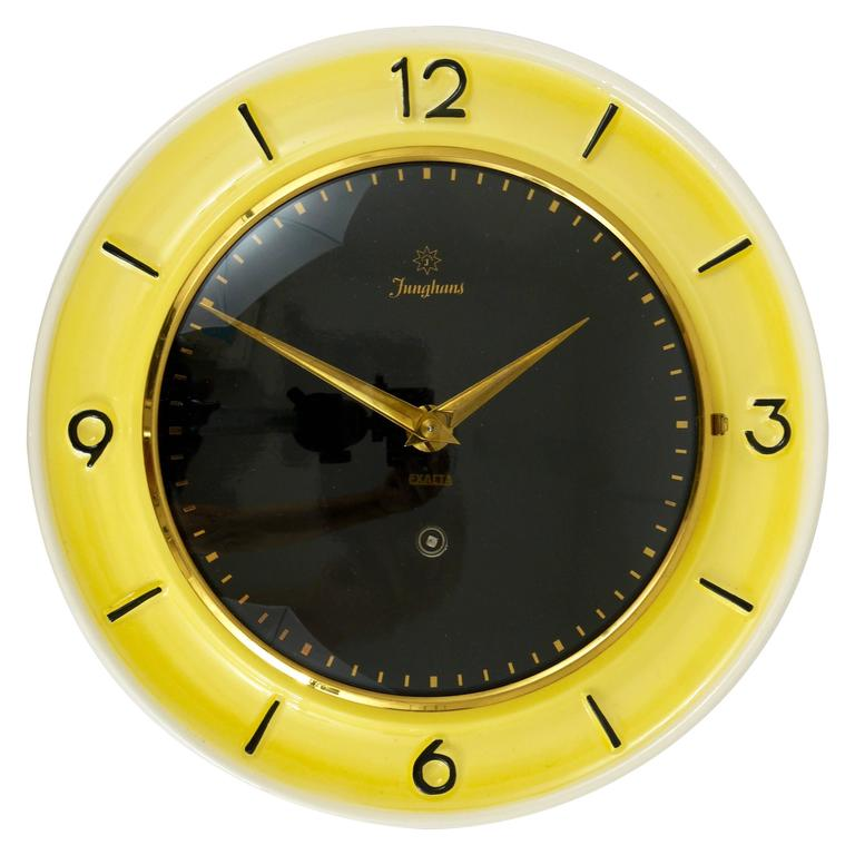 Pastel Yellow Junghans Mid-Century Brass Wall Clock, Germany, 1950s