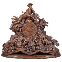 Large 19th Century Carved Black Forest Mantel Clock