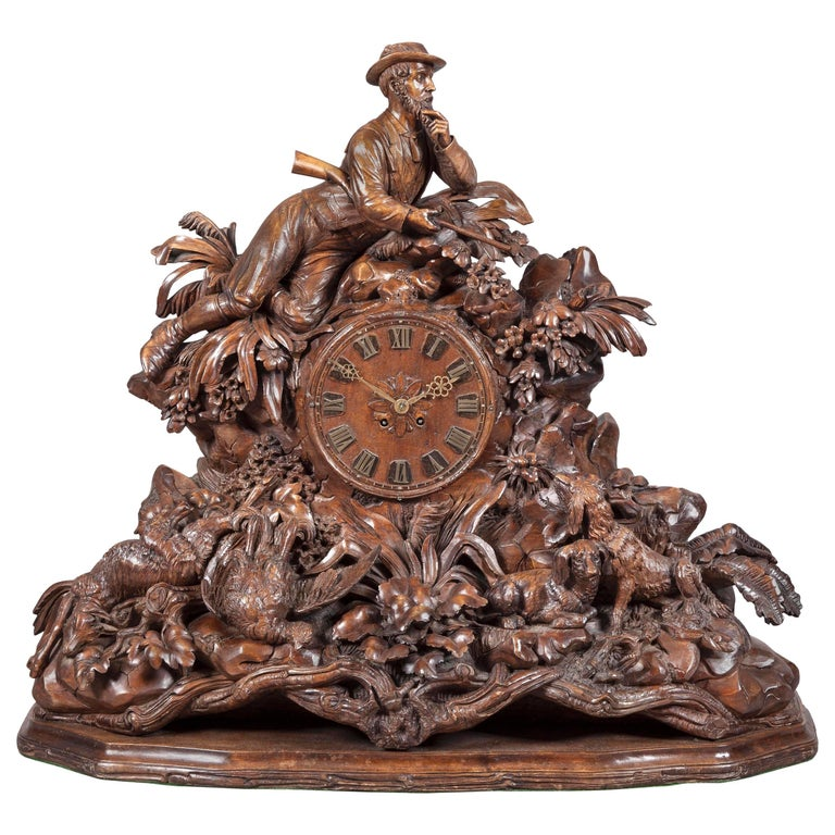 Large 19th Century Carved Black Forest Mantel Clock For Sale