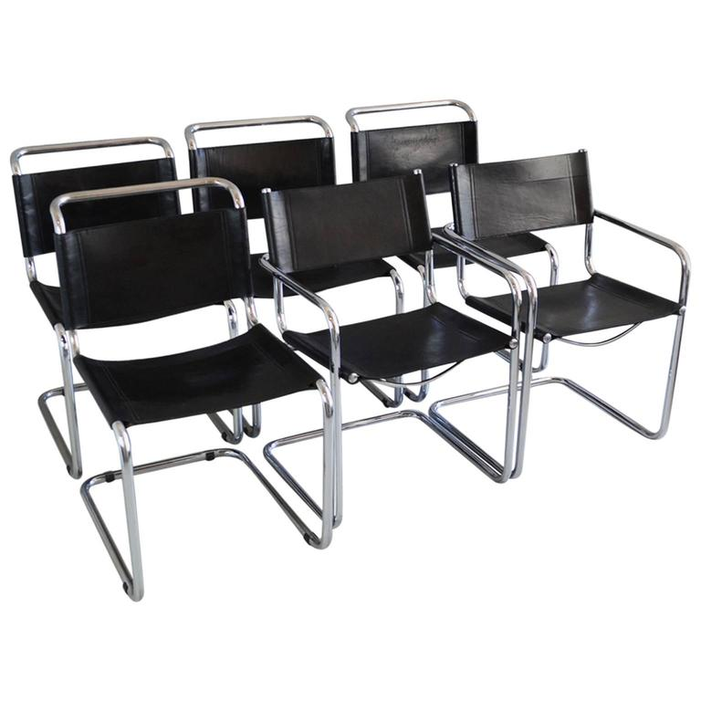 Set Of Six Bauhaus Style 1970s Black Leather Dining Chairs