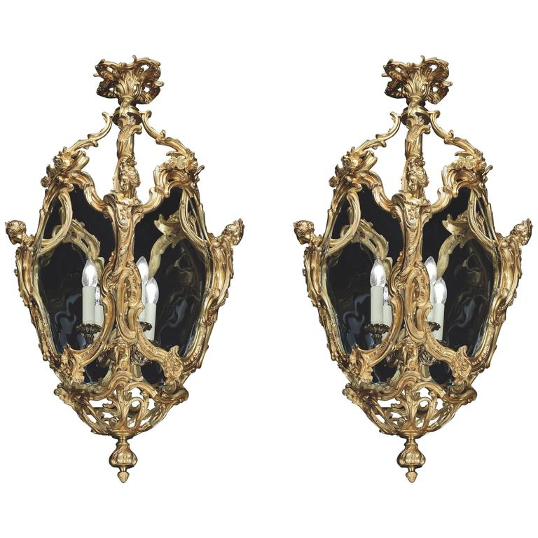 Pair of French Gilt Bronze and Glass Lanterns in the Louis XV Manner