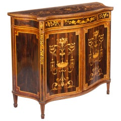 19th Century English Marquetry Side Cabinet in the Neoclassical Style