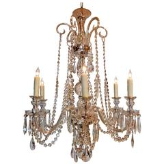 Six-Light Regency Style Crystal Chandelier