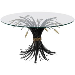 Italian Black and Gilt Wheat Sheaf Table with Glass Top