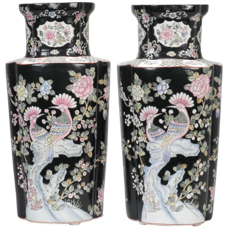 Paar Chinesische Vasen Gross Schwarzweiss Im Angebot Bei 1stdibs
