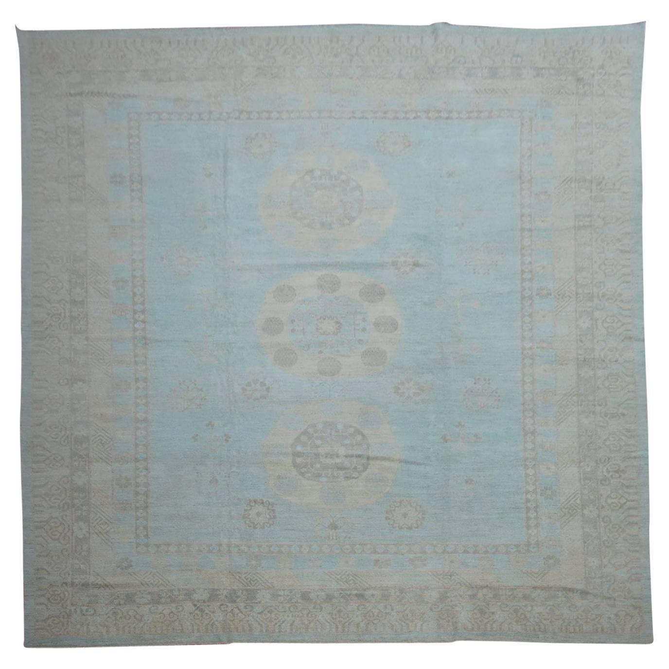 Oversize Light Blue Traditional Khotan Rug