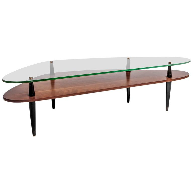 Cb2 Mid Century Coffee Table: Mid-Century Wood And Glass Coffee Table At 1stdibs