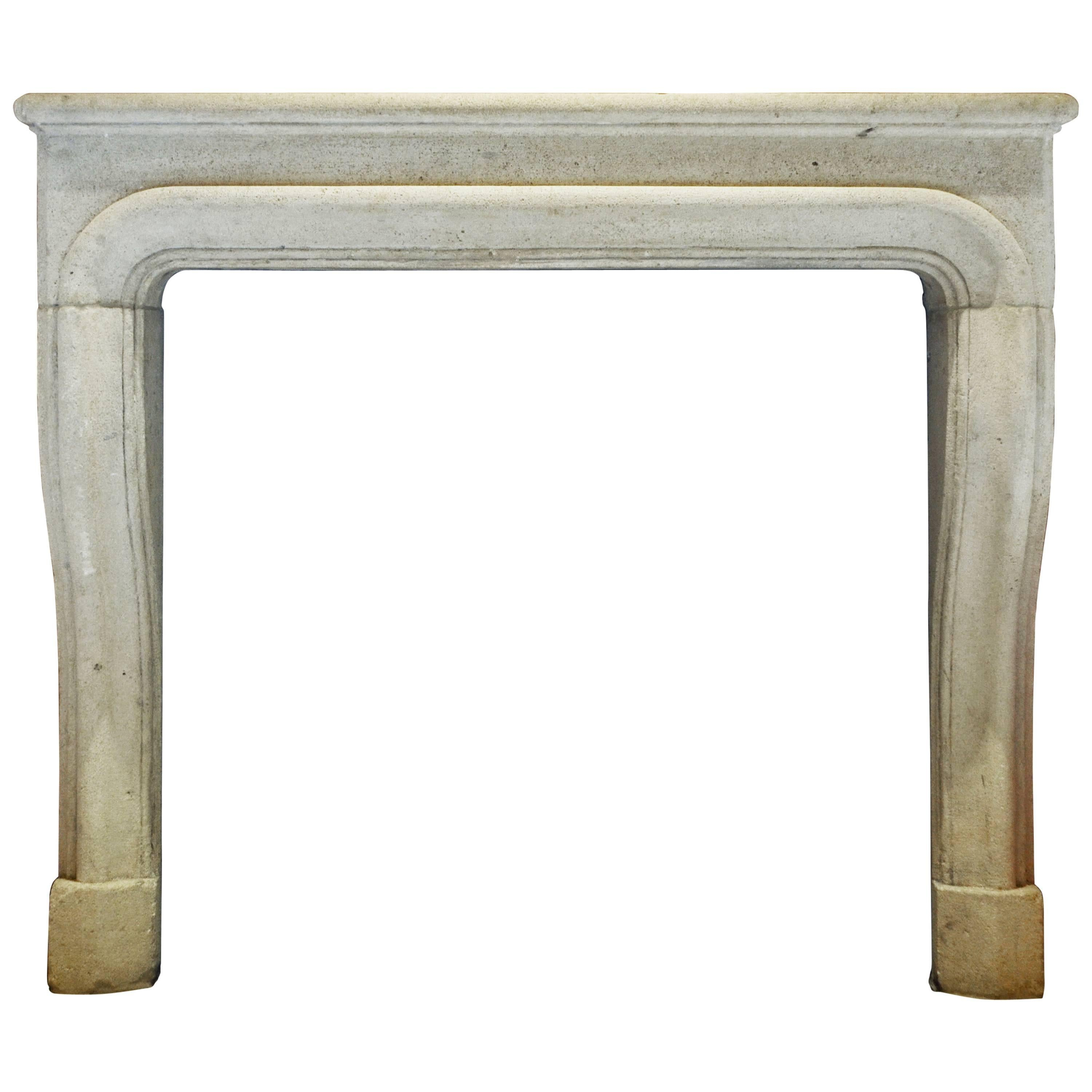 Antique 18th Century French Limestone Fireplace Mantel
