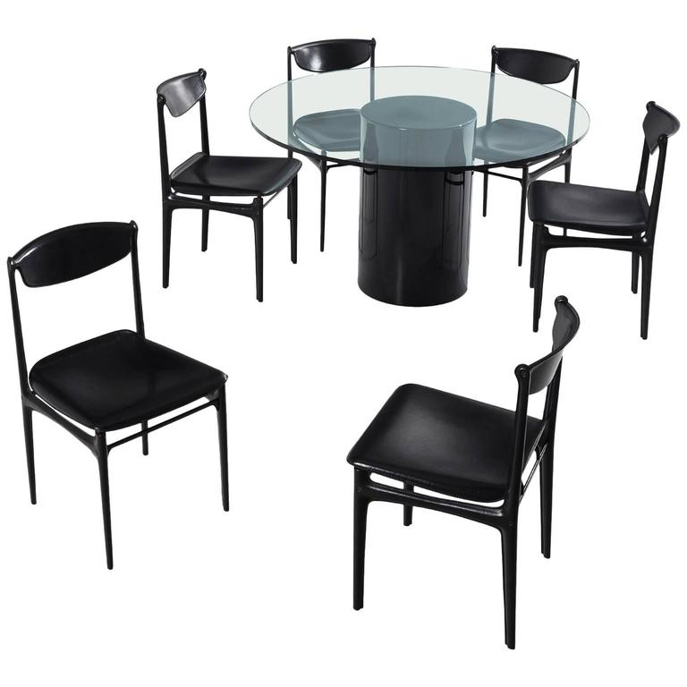 italian mid century dining room set in black leather and