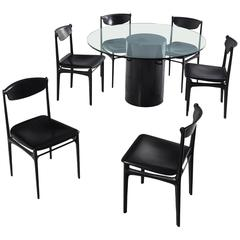 Italian, Mid-Century Dining Room Set in Black Leather and Glass