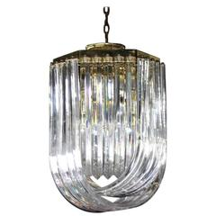 Bent Lucite Mid-Century Modern Large Light Fixture