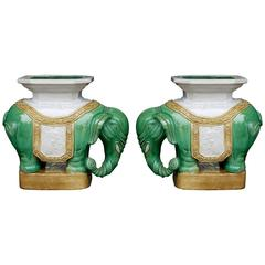 Bookmatched Pair of Chinese Elephant Garden Stools