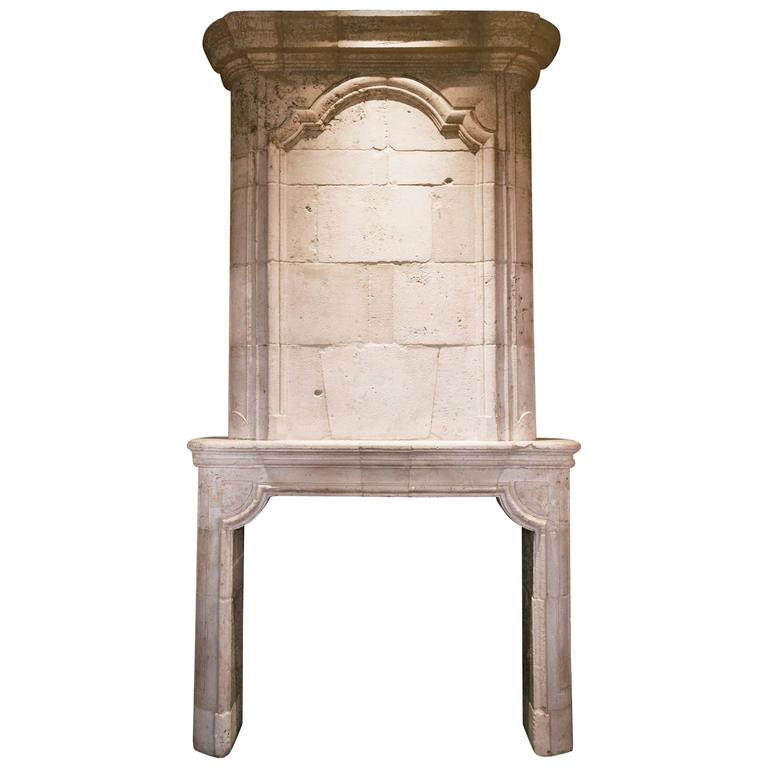 Antique Limestone Fireplace with Trumeau, circa 18th Century