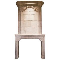Antique Limestone Fireplace with Trumeau, circa 18th Century