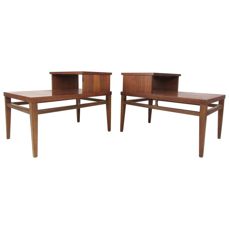 Vintage Modern Two Tier End Tables By Lane